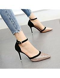 YMFIE In stile europeo estate di pelle nuova moda danza partito tacco alto Scarpe Donna Scarpe eleganti,39 UE,b