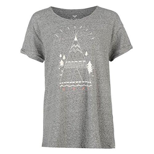 Roxy Femme Boyfriend Tee T-Shirt Tee Top Haut Manche Courte Col Rond Casual Gris Fonce Heathr