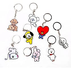 King MIA Dibujos Animados Llavero Llavero BTS Banda Miembros Fan Keychain Hot Regalo Distressed Ornament 7 Pack