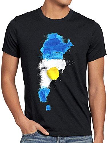CottonCloud Flagge Argentinien Herren T-Shirt Fußball Sport Argentina WM EM Fahne, Größe:S, Farbe:Schwarz