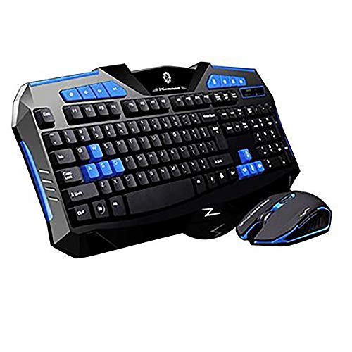 WHQ F1 Wireless Keyboard Mouse Anzug für Spiel Home Office Laptop Desktop Ergonomic 2400DPI Wasserdicht,Blau