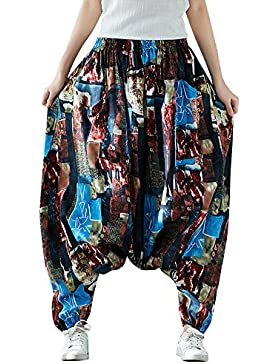 MISSMAOM Pantalones Mujer Estilo Hippie Vendimia del Estilo Nacional Pantalones Holgados Bombachos Ocasionales...