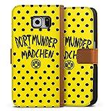 DeinDesign Samsung Galaxy S6 Tasche Leder Flip Case karamell Hülle braun Dortmunder Mädchen Borussia Dortmund BVB