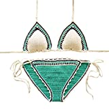 WanYang Damen Beachwear Langarm Bikini Dress Urlaub Hohl Bikini Außerhalb Stricken Im Freien Oberteile + Höschen