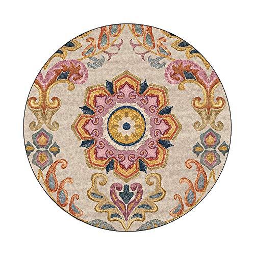 Alfombra Redonda de Color Crema, fácil de Limpiar, Resistente a la decoloración, diseño Moderno y contemporáneo, diseño Floral de transición Suave para salón o Comedor (47 Pulgadas)