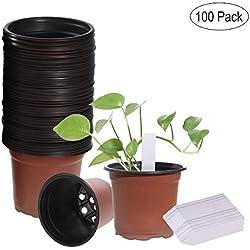 Ounona - Lot de 100pots de semis, en plastique léger - Avec étiquettes