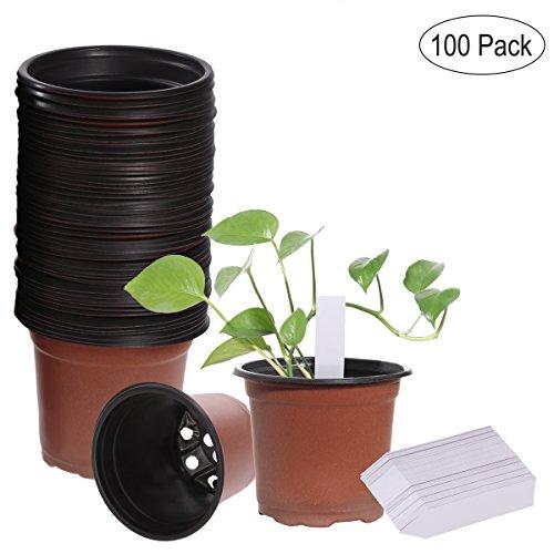 Ounona - Lot de 100 pots de semis, en plastique léger - Avec étiquettes