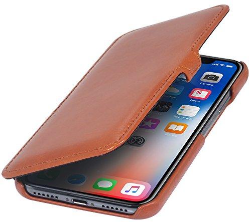 StilGut Leder-Hülle kompatibel mit iPhone XS/iPhone X Book Type, Cognac mit Clip