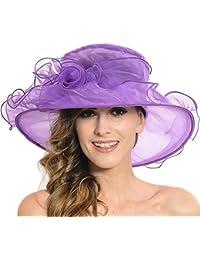 Discoball Women s Sun Hat - Floral Organza Flat Large Wide Brim Gauze  Kentucky Derby Cap - Folding Sun Summer… 9e312195828d