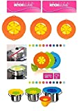 Cookline Kochblume 11 Farben 5 Größen Überkochschutz, Überkochstop, Spritzschutz + Stoffbeutel (Topfgröße 14-24cm mittel, orange)