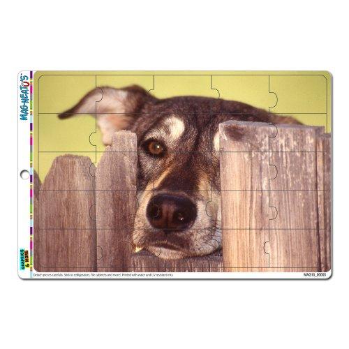 Graphics and More Dog Looking durch Zaun der anderen Seite mag-neato 's Novelty Geschenk Locker Kühlschrank Vinyl Puzzle Magnet Set (Mag-zaun)