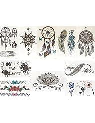Lot de 10faux tatouage noir et multicolore flash tatouage tattoo Colle bijoux Tram Attrape-rêves Ressort inif NITY Lotus roses fleurs