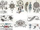 10 Stück FAKE TATTOO Schwarz und Bunt Flash Tattoo Schmuck Tattoo Kleber Tramfänger Feder Inifnity Lotus Rosen Blumen