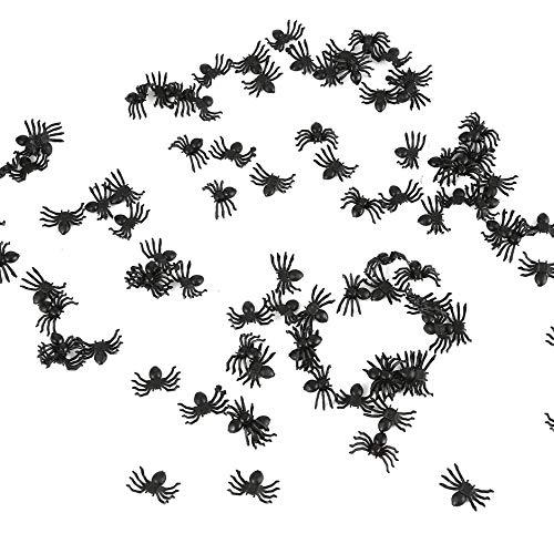 WEIWEITOE-DE Kunststoff Black Spider Trick Toys Spukhaus Requisiten Dekoration 100 Stück, schwarz,