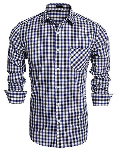Burlady Herren Hemd slim fit Langarm Kariert Bügelfrei Freizeitbekleidung für Business Hochzeit Fest Blau XL