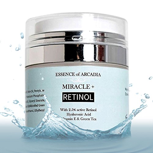 Retinol Moisturizer Cream High Strength for Face and Eye Area Miracle Plus- 2.5% Retinol, Hyaluronic Acid, Vitamin E, Green Tea�Anti Aging Formula Reduces Wrinkles, Fine Lines, Spots-Day and Night 1.7 fl. oz (50ml)