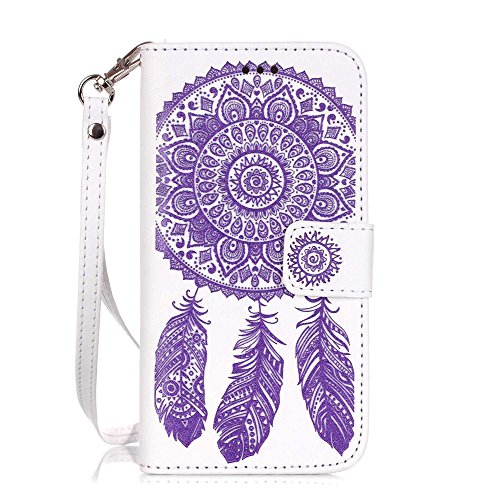 Nutbro iPhone 6S Plus Case, iPhone 6 Plus Case Wallet, Premium PU Leather Flip Folio Carrying Magnetic Protective Shell Wallet Case Cover for iPhone 6 / 6S (5.5) with Kickstand White/Purple Flower