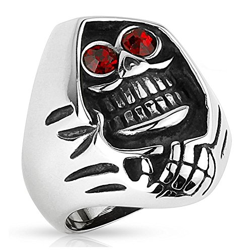 senmann Totenkopf Fingerring Edelstahl für Männer 60 62 64 67 70 72 (Ring Herren Edelstahlring Herrenring Männerring Biker Harley Easy Rider SOA Sons of Anarchy Grim Reaper Skull (Sons Of Anarchy Modeschmuck)