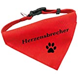 Hunde-Halsband mit Dreiecks-Tuch HERZENSBRECHER, längenverstellbar von 32 - 55 cm, aus Polyester, in rot