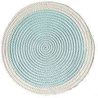 HSAGDAS Mantel individual Multicolor Ronda de algodón Posavasos Inicio de aislamiento Mat/cojín de la tabla de tela impermeable Accesorios de cocina Decoración Hogar (Color : Azul, Size : 36cm)