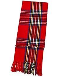 Womens Ladies Mens Gents Boys Unisex Warm Winter Tartan Check Scarf Knitted Woollen Neck Warmer Shawl Wrap Stole Wrap Pashmina