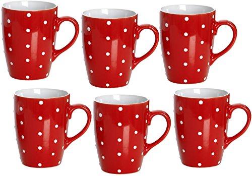 Ritzenhoff & Breker Kaffeebecher Set Pinto, 6 teilig, Rot, 320 ml