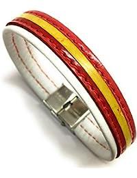 39448cfb0746 YOJAN PIEL Pulsera De Cuero Bandera De España (Fabricada Artesanalmente)