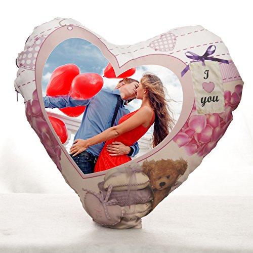 cojín con foto personalizado con forma de corazón