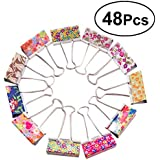 YeahiBaby Multi-Color Floral Elliot Folder Binder Clips Metal for Office and School 48pcs 25mm