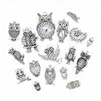 Antique Silver Tone Assorted Metal Charm Pendant Connector for DIY Jewelry Making Findings Accessaries (17pcs,Owl Styles)