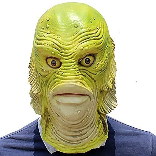 acccc Halloween Monster Fischkopf Abdeckung Maske Latex Maskerade Requisiten Für Männer Spikes Masl Einfache Cosplay Perücke Nylon Herren Schwarz Coole - Nylon Herren Kostüm