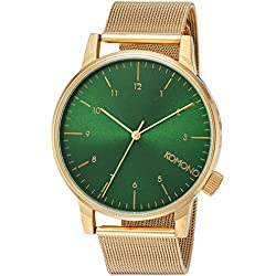 Komono Men's Quartz Watch with Green Dial Analogue Display and Gold Bracelet KOM-W2355