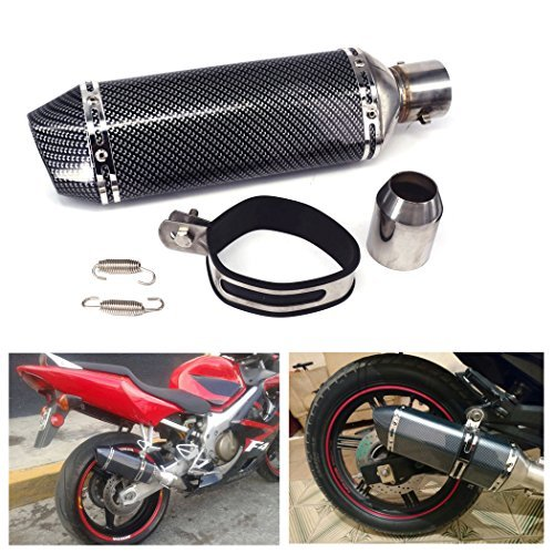 """JFG RACING Universal 1.5-2 \""""Einlass Slip On Auspuff Schalldämpfer mit abnehmbaren DB Killer für Street Bike Motorrad Roller - Carbon Fiber Farbe"""