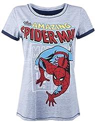Spider-Man Comic Style Girl-Shirt grau meliert
