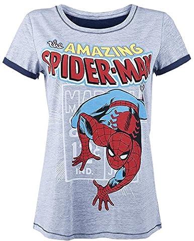 Spider-Man Comic Style T-shirt Femme gris chiné XL
