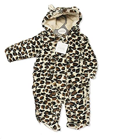 Super Soft Hooded Brown Leopard Print Snowsuit With Paw Print