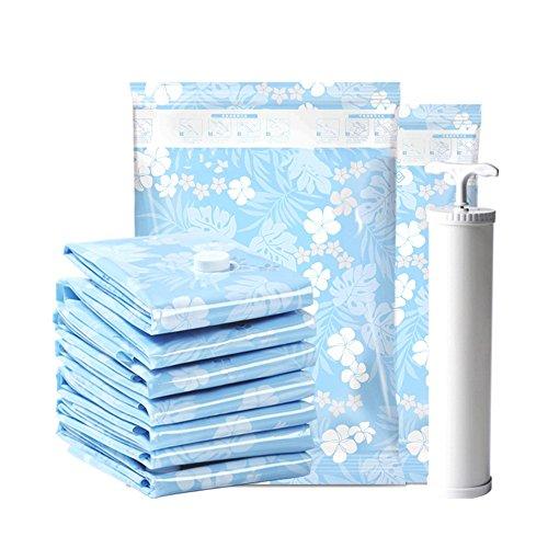 QFFL Sac de compression sous vide Sac de stockage d'épaississement d'impression bleue / sac de compression de vêtements de couette / sac aspirateur de Mouldproof (un paquet de 6) Sac de protection