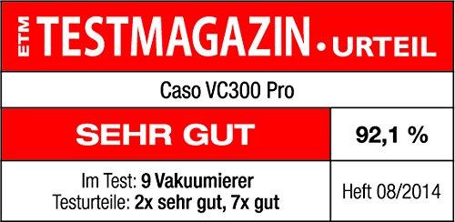CASO VC300 Vakuumierer - Vakuumiergerät, Lebensmittel bleiben bis zu 8x länger frisch - natürliche Aufbewahrung ohne Konservierungsstoffe, doppelte 30cm lange Schweißnaht, regulierbare Vakuumstärke, inkl. Folienbox und Cutter, inkl. 2 Profi-Folienrollen & Schlauch für Vakuumbehälter - 7