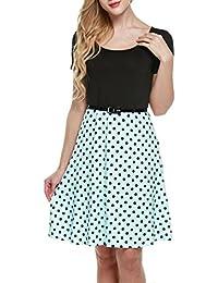 Zeagoo Damen Neckholder Sommerkleid Fließendes Chiffonkleid mit Polka Dots  Strandkleid A-Linie Knielang 4ec4e62273