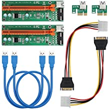 kamtop 2x USB 3.0PCI-E Express 1X To 16X extensor Riser Tarjeta Adaptador con SATA Power Kable
