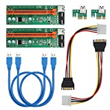 Kamtop 2 x USB 3.0 PCI-E Express 1x To 16x Extender Riser Karte Adapter mit SATA Power Kable