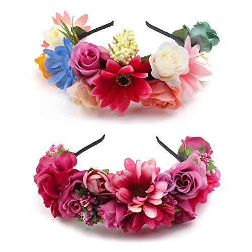 OOSAKU Diadema corona de flores de niñas Novia floral guirnalda de pe
