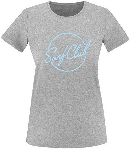 EZYshirt® Surfclub Damen Rundhals T-Shirt Grau/Hellblau
