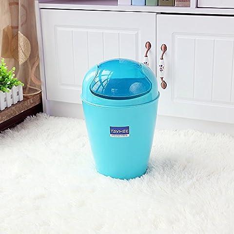 Flip Garbage candy farbige Ventildeckel Abfallbehälter fice Papierkorb Kunststoff Papierkorb, Mittel 5 L Blau