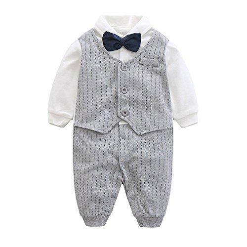 Traje formal para bebé, De la marca Baby Boy, de manga larga Gris Grey Stripe 6-9 Meses
