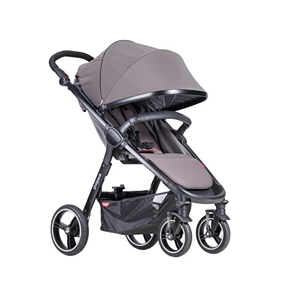 Phil&teds Smart Buggy Pushchair, Graphite phil&teds Foot fold - intuitive, compact, one-piece standing foot fold - a world's first of its kind - is only 23 Inch wide, making it perfect for tight city spaces ; A unique aerocore seat design that's soft and spongy for maximum comfort and is hypo-allergenic, ventilating, insulating, UV resistant, waterproof, non-toxic and simply wipes clean Smooth ride tires - super-smooth, hassle-free riding with 10 Inch rear puncture-proof, aerotech wheels and suspension on all four wheels; convenient hand-operated parking brake offers easy braking control at your fingertips Lightweight - stroller weighs 23.5 lbs. and includes a main, full-size seat that holds up to 44 lbs., an extendable leg and a sun hood with zip-out extension and silent peek-a-boo flap 9