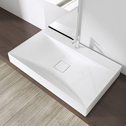 Preisvergleich Produktbild BTH: 80x48x11 cm Design Waschbecken Colossum810, aus Gussmarmor, Waschtisch, Waschplatz