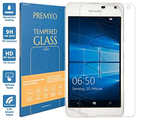 PREMYO Panzerglas Schutzglas Bildschirmschutzfolie Folie kompatibel für Microsoft Lumia 650 Blasenfrei HD-Klar 9H 2,5D Gegen Kratzer Fingerabdrücke