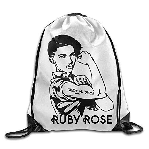 uykjuykj Ort Backpack Drawstring Print Bag Ruby Rose Stella Carlin Trust no Bitch Lightweight Unique 17x14 IN (Ruby Stella)