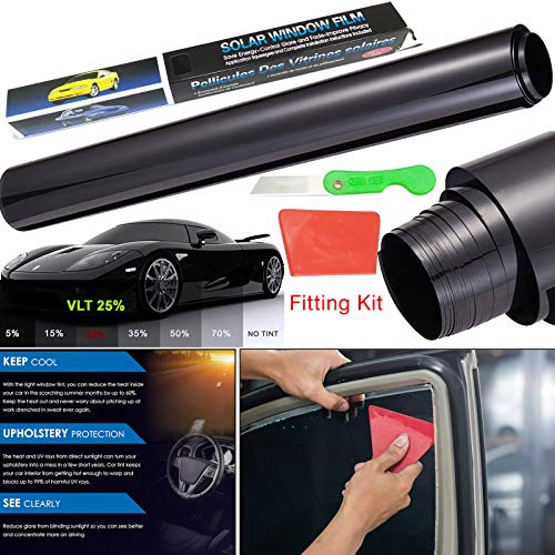 3 m x 50cm Auto-Tönungsfolie gegen Sonnenblenden, UV-Strahlen, Hitzeentwicklung; für Fahrzeuge, Glastüren, etc.